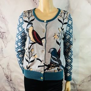 Anthropologie love dove love birds cardigan sz s
